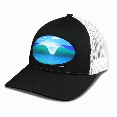 A-Frame Peak Wave Patch on Flexfit Cap - Black Front/White Mesh back