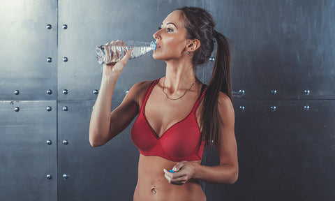 women hydrating with oral iv