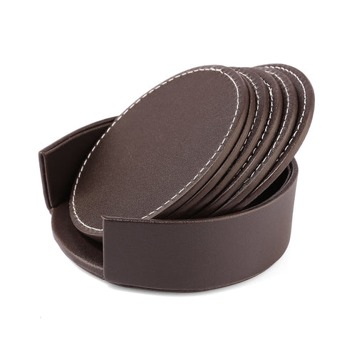 6Pcs PU Leather Heat-resistance Placemat Cup Mats Coffee Mug Drink Coasters  Cup Cushion Minions