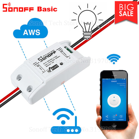 Itead Sonoff Smart Wifi Switch DIY Smart Wireless Remote Switch Domotica Wifi Light Switch Smart Home Controller Work with Alexa