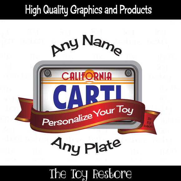 Custom License Plate Decals Fits All Kinds of Kids Toys