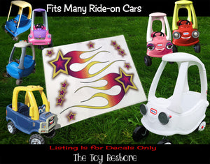 The Toy Restore Purple Shooting Star Flames DIY Replacement Stickers Decals fits Step 2  Little Tikes Car Truck Vehicle