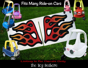 The Toy Restore Flames Custom Wings For Hot Rod DIY Replacement Decals Stickers fits Step 2 Little Tikes  Car Truck Vehicle