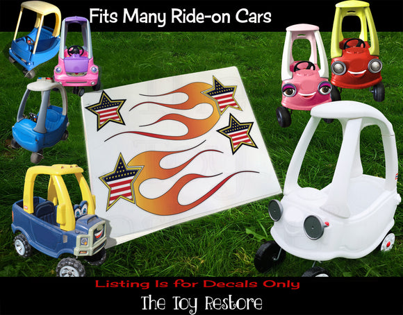 The Toy Restore American Shooting Star Flames DIY Replacement Stickers Decals fits Step 2  Little Tikes Car Truck Vehicle