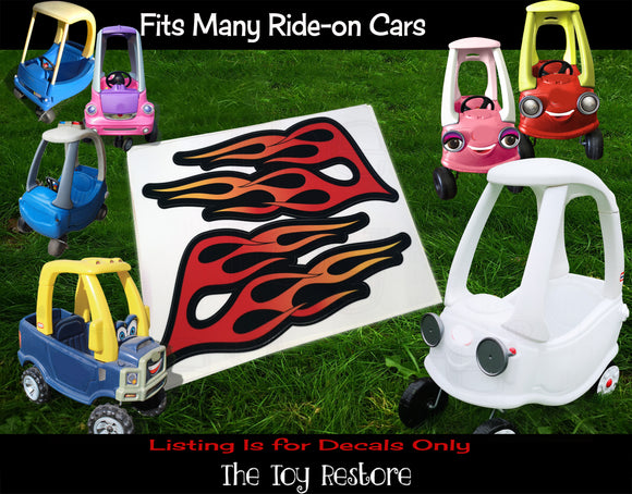 The Toy Restore Bright Flame Wings  For Hot Rod Custom Colorful DIY Replacement Decals Stickers fits Step 2  Little Tikes Car Truck Vehicle