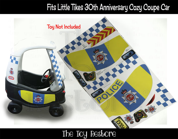 Great Britian Police Decals Replacement Sticker Fits Little Tikes 30th Annversary Cozy Coupe Car