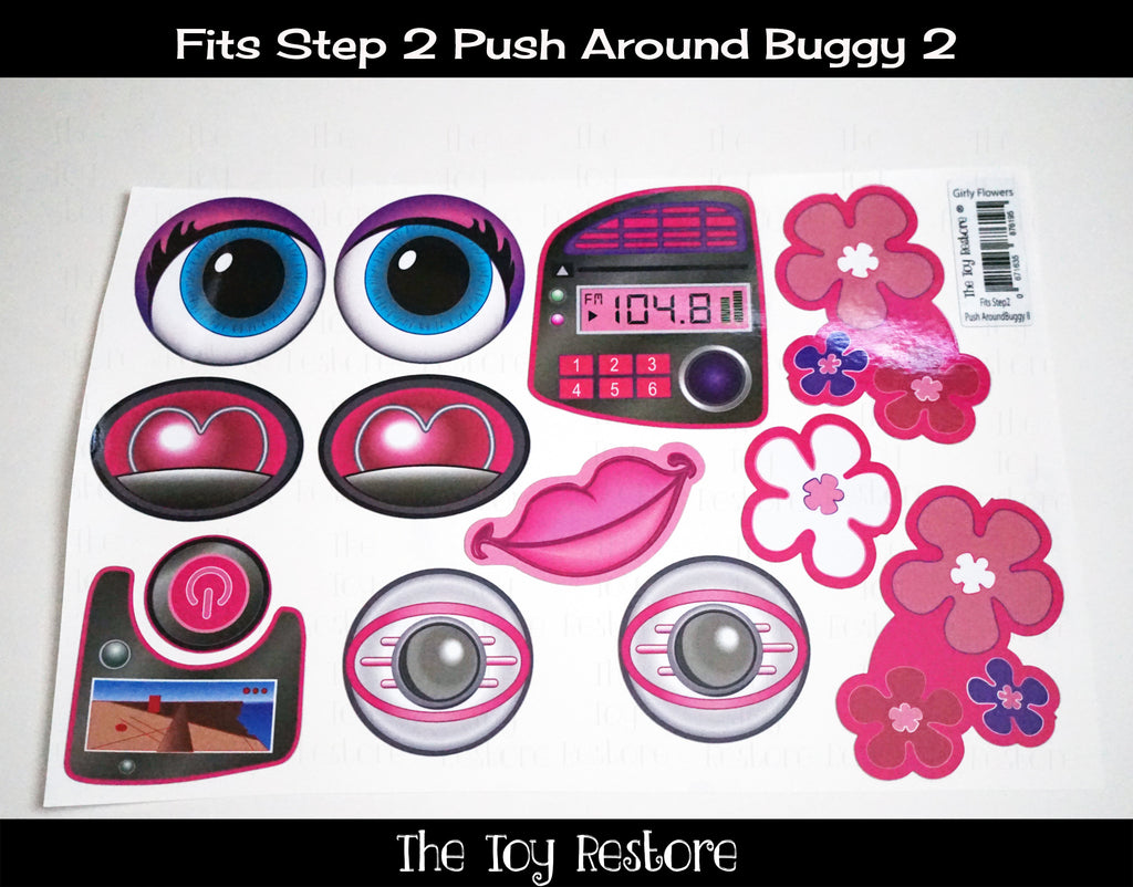 Decals Replacement Sticker Fits Step2 Push Around Buggy 2 II Ride-on Car Girl