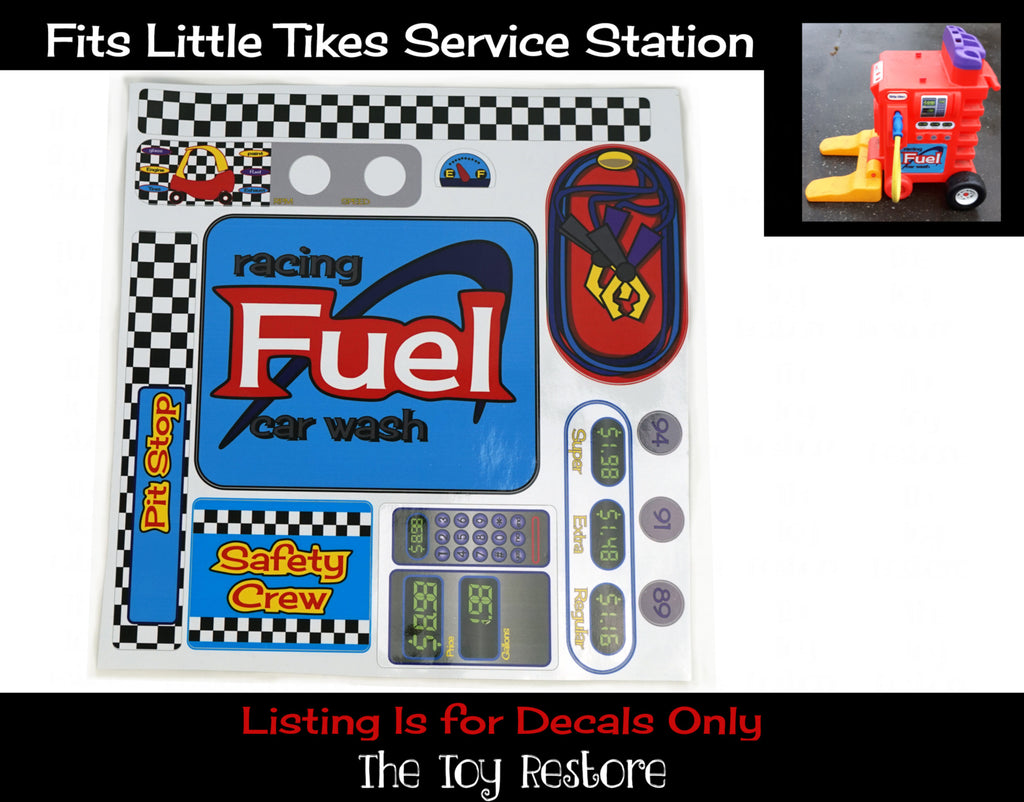 Gas Station Pit-Stop Replacement Stickers fits Vintage Little Tikes Fuel Station