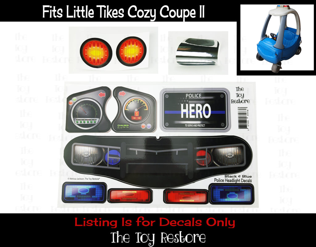 Police Decals Replacement Stickers fits Little Tikes Custom Cozy Coupe II  Patrol Cop Car ride on