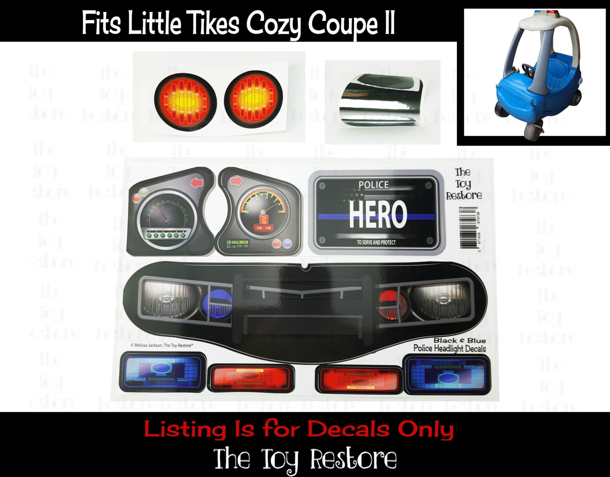 Police Decals Replacement Stickers Fits Little Tikes Custom Cozy Coupe The Toy Restore [ 1600 x 2044 Pixel ]