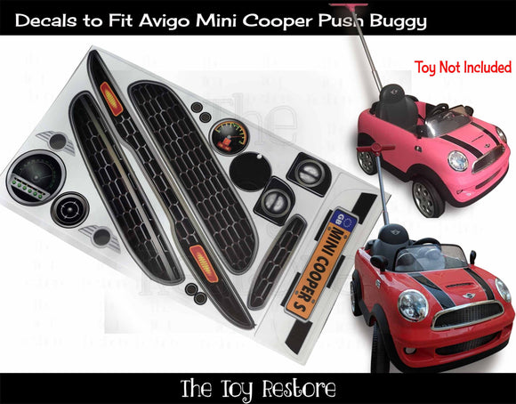 The Toy Restore Replacement Stickers fits Avigo Austin Mini Cooper Push Buggy Stroller Kids Ride-on Car Set