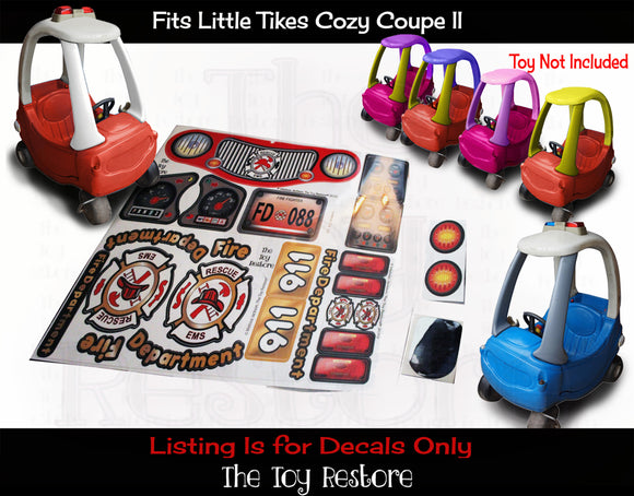 Firetruck Stickers Replacement Decals fits Little Tikes Tykes Custom Cozy Coupe II Ride-On Car Fire Truck Engine Set