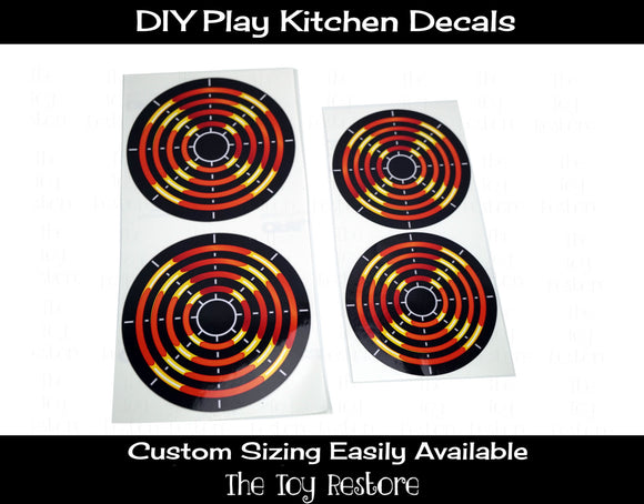 DIY Play Kitchen Decals 4 Burners dials Oven Panel  Eye Stove Element Replacement Stickers Using a Tote or Reclaimed Furniture