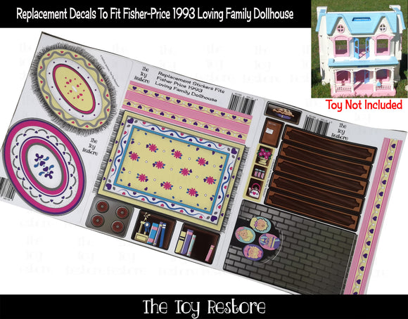 The Toy Restore Replacement Decals Stickers fits 1993 Fisher Price Loving Family Doll Dollhouse
