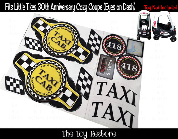 Taxi Decals Replacement Sticker Fits Any Little Tikes Custom Cozy Coupe Car Truck set