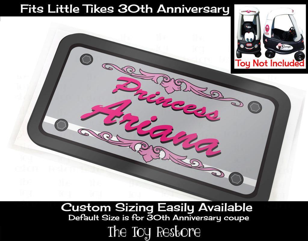 Custom License Plate Decal Sticker Fits Little Tikes Cozy Coupe Car