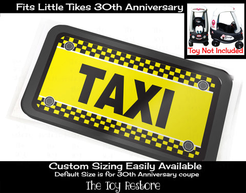 Taxi Custom License Number Plate Decal Sticker Fits Little Tikes Cozy Coupe Ride-on Car Toy Vanity