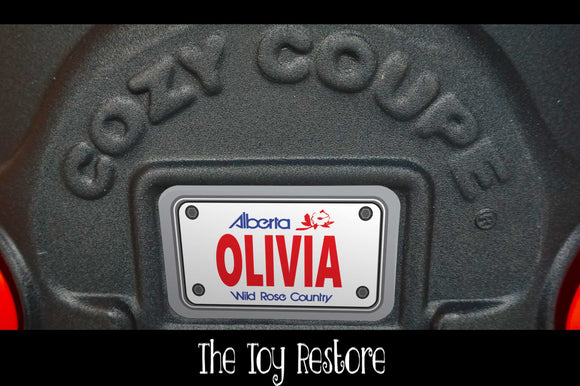 Alberta Custom License Plate Replacement Sticker Fits Little Tikes Cozy Coupe Car