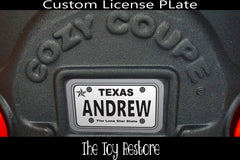 Texas Custom License Plate Replacement Sticker Fits Little Tikes Cozy Coupe Car