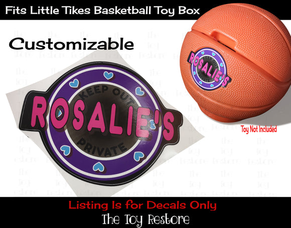 The Toy Restore Replacement Decals Stickers fits Little Tikes Basketball Toy Box Pink