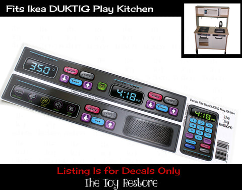 The Toy Restore Replacement Stickers Spare Decals Fits IKEA DUKTIG Play Kitchen Oven Microwave