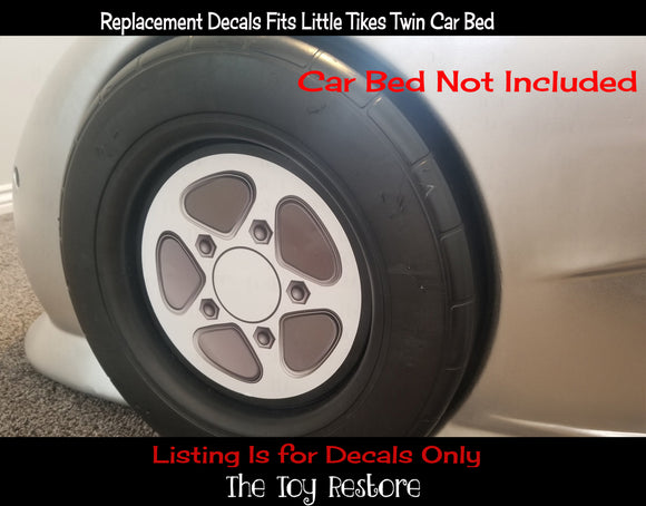 Hub Cap decals Replacement Stickers Fits Little Tikes Twin Sized Car Bed