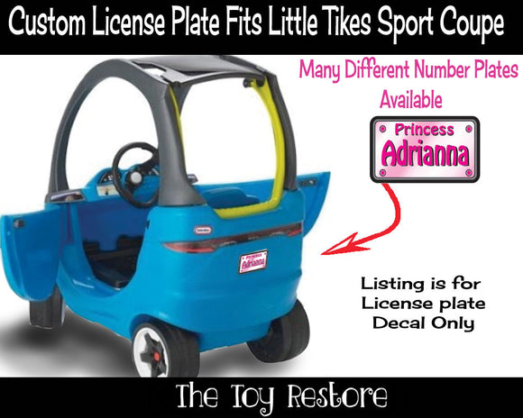 Princess Custom License Plate Replacement Sticker Fits Little Tikes Sport Coupe