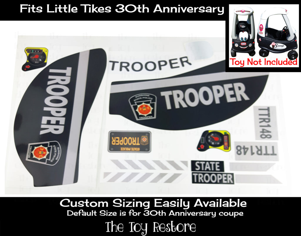 State Trooper Decals Replacement Sticker Fits Little Tikes 30th Ann. Cozy Coupe Car