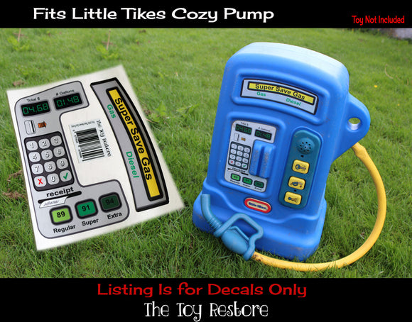 The Toy Restore Replacement Stickers fits Little Tikes Cozy Coupe Gas Pump Petrol