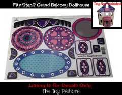 Dollhouse Decals Replacement Sticker Fits Step2 Grand Balcony Doll house Toy