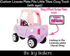 Princess Custom License Plate Replacement Sticker Fits Little Tikes Cozy Coupe Truck
