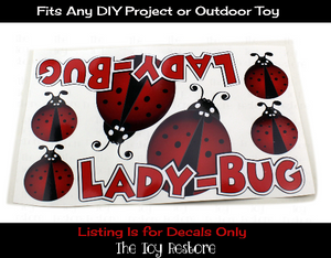 The Toy Restore Ladybug Decals Replacement Stickers fits DIY Project or Custom Cozy Coupe Car  Ride-on