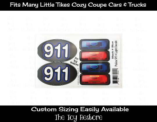 Police Light Decals Replacement Stickers fits Step 2 Little Tikes Custom Cozy Coupe Car Truck Vehicles ride on