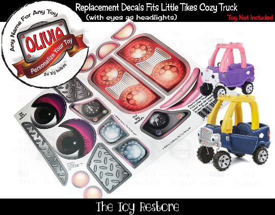 Personalized Replacement Stickers for 2017 Little Tikes Tykes Custom Cozy Truck with Brown Eyes as headlights Princess Girl Pink