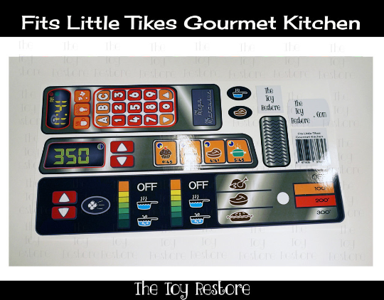 New Replacement Decals Stickers for Vtg Little Tikes Tykes Gourmet Kitchen Updated