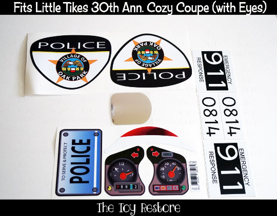 The Toy Restore Police Car Replacement Decals Stickers Fits Little Tikes 30th Anniversary Cozy Coupe Car toy Oak Park Police set