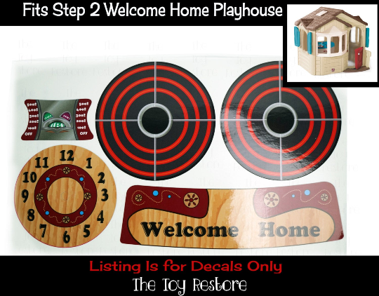 The Toy Restore Replacement Stickers Spare Decals fits Step 2 Step2 Playhouse Welcome Home Cubby