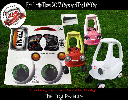 Personalized Replacement Stickers fits 2017 Little Tikes Tykes Custom Cozy Coupe Car Boy Green Eyes