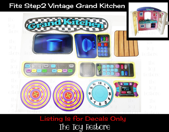 The Toy Restore Decals Replacement Stickers Fits Vintage Step2 Grand Kitchen