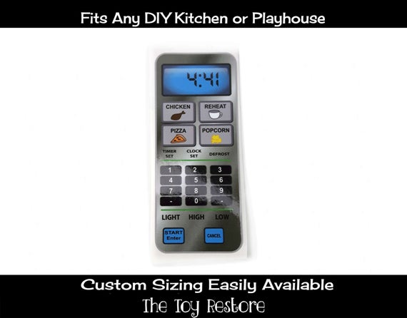 New Replacement Decals Stickers for Play Kitchens: Microwave decal only Stainless Steel Look