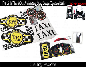 Taxi Decals Replacement Sticker Fits Little Tikes 30th Ann. Cozy Coupe Car Full set