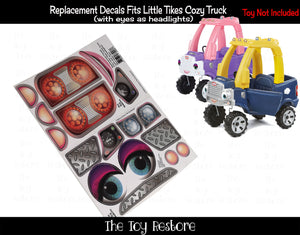 Replacement Stickers fits 2017 Little Tikes Cozy Coupe Truck With Blue Eyes Girl