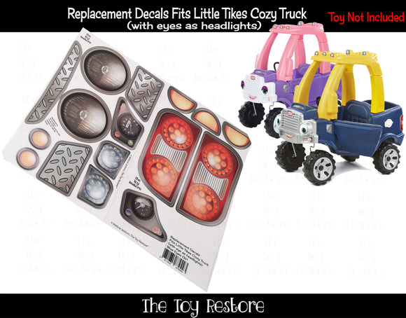 Replacement Stickers fits 2017 Little Tikes Cozy Coupe Truck With Eyes Headlights