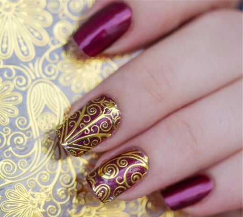 3D Faux Gold Embossed Nail Art