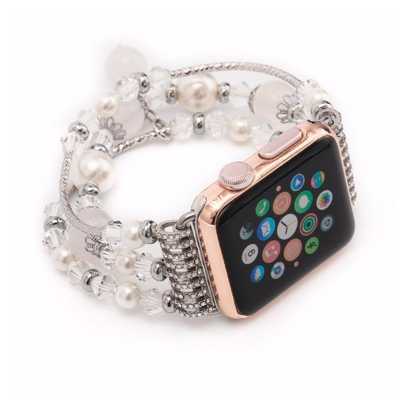 Women's Crystal Agate Stretch Bracelet for Apple Watch Band for iWatch 42mm 38mm Sizes