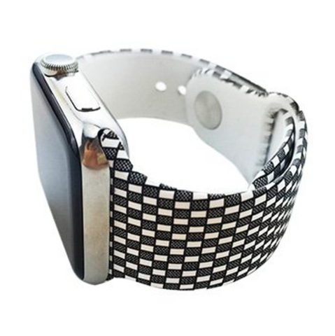 Black and White Checkered Silicone Watch Band for Apple Watch 38mm 42mm
