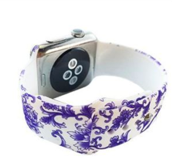 Purple Paisley Silicone Watch Band for Apple Watch 38mm 42mm