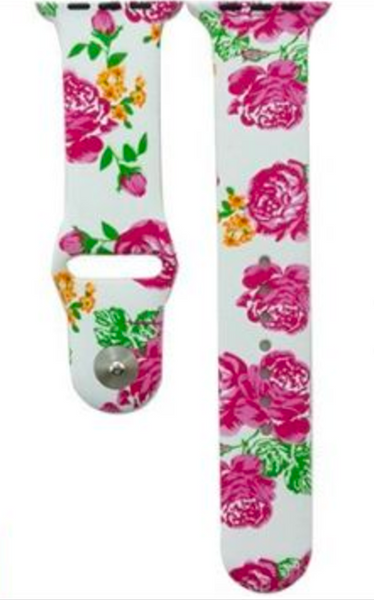 Flowers Everywhere Silicone Wrist Bands For Apple Watch iWatch 38mm 42mm