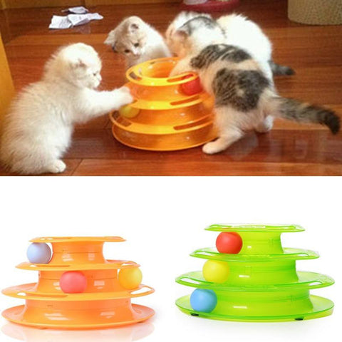 Tri-level Interactive Ball and Track Cat Enrichment Toy