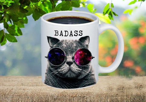Badass Cat with Sunglasses Coffee Mug